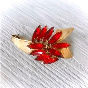 Jewelry - Vintage Ruby Red Rhinestone Leaf Spray Brooch